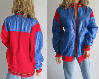 Blouson bleu rouge, oversize baggy, fixation zip, des années 80 français moyen vintage,