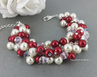 Christmas Party Jewelry Red Bracelet Cluster Bracelet Pearl Bracelet Bridesmaid Bracelet Valentines Day Gift for Mother Gift for Wife