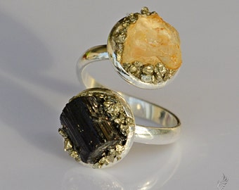 Raw Crystal Jewelry - Rustic Jewelry - Black Tourmaline Ring - Protection Ring - Yellow Topaz Ring - October & November Birthstone Jewelry