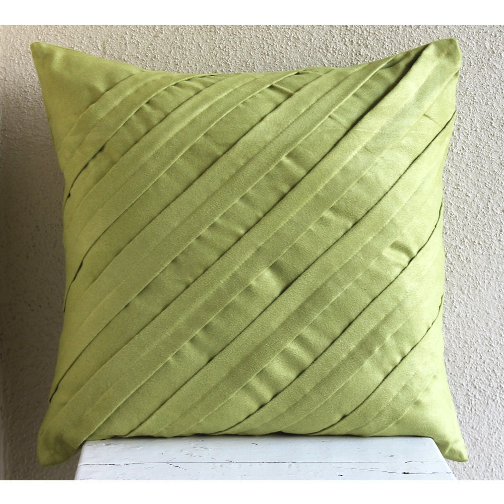 Apple Green Throw Pillows Cover 19x19 Faux Suede