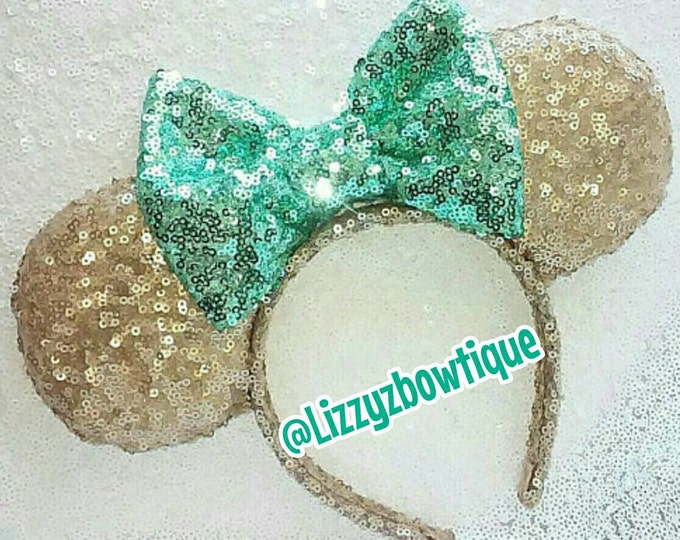 Champagne Sequin Minnie ears with any color Sequin Bow