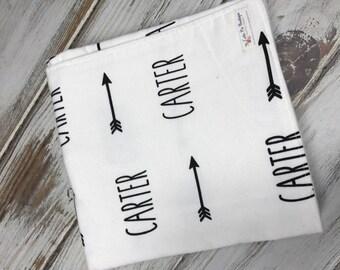 Personalized Name Blanket, Screen Printed Blanket, swaddle blanket, stroller blanket