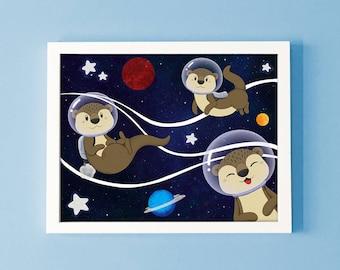 Otter Space Print, otter art, space print, cute print, otter lover