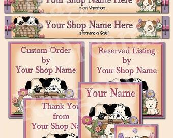 Cute Puppies Basket Flowers Butterflies  - Premade Etsy Shop Set Design - Etsy Banner - Etsy Shop Banner - SHOP ICON - Shop Profile Photo