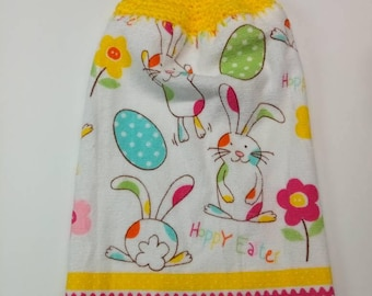 Playing Easter bunny Kitchen towel, cotton towel, crochet top towel, bunny and egg, Kitchen dish towel