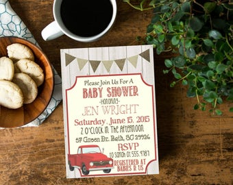 Red Vintage Truck Rustic Baby Boy Farm Country Shower Invite, Invitation with Antique Truck, Old Wood Truck Baby Shower, Digital File