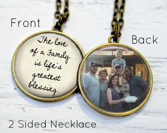 FAMILY Necklace - Family Gifts - Grandma Necklace - Family Reunion Gifts - Personalized Photo Necklace - Custom Photo Gifts - Family Quotes