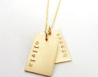Gold Tag Necklace | Gold Name Tag Necklace | Gold Dogtag Necklace | Gold Name Charm Necklace | Gold Dog Tag | Personalized Gold Bar Necklace