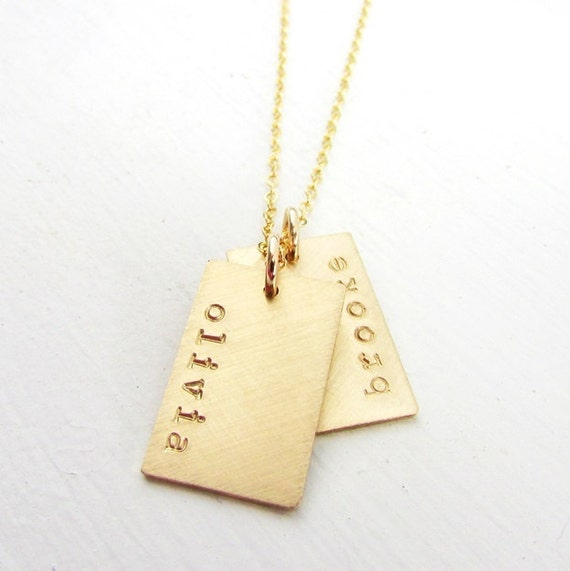 New Gold Tag Necklace Gold Name Tag Necklace Gold Dogtag QB56