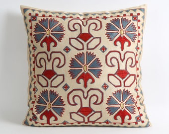 18x18 Silk suzani pillow cover Hand Embroidered