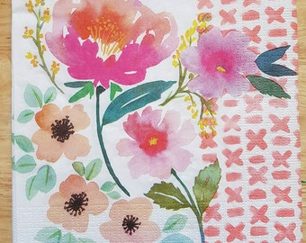Set of 4 Square Pastel Floral Paper Lunch Napkins Decoupage Crafts Collage Scrapbooking #044