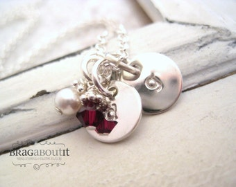 Initial Neckalce . Hand Stamped Personalized Jewelry . Brag About It . Teeny Tiny Initial Necklace with Birthstone