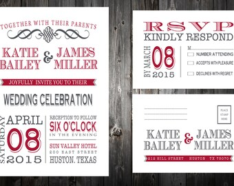 Printable Wedding Invitation Set - Invitation - RSVP Card  - DIY Wedding -  Any colour - Custom Wedding invite - Template