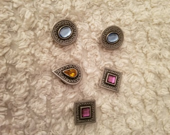 5 Vintage Button Covers,1980's shirt button covers,Gemstones Button Covers