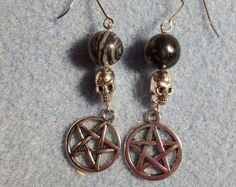 Pentacle earrings with zebra stones and skulls