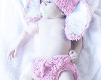 12 to 24m Easter Bunny Hat Set, Baby Pink Bunny Diaper Cover Set, Bunny Beanie Crochet Baby Hat Bunny Ears, Baby Bunny Photo Prop Easter Hat