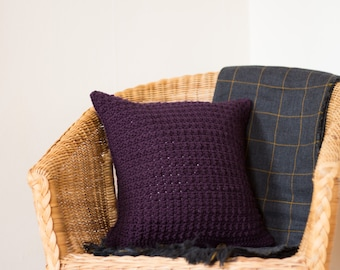 Throw Pillow Cover, Purple Cushion, Knitted Cushion, Scatter Pillow, Crochet Cushion, Purple Pillow, Scatter Cushion, Knitted Pillow