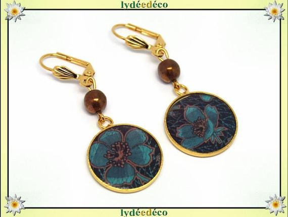 Earrings brass gold 24 k Brown turquoise blue resin flower beads gift birthday mother's day wedding thank you teacher