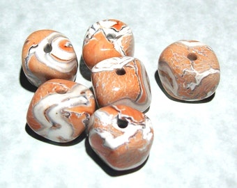 ON SALE NOW Peach, Rust, White and Silver Marbled Nugget Handmade Polymer Clay Beads