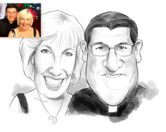 Two Person B&W Caricature