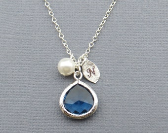 Personalized Necklace for Mom, Sapphire Necklace, Initial Necklace, Mothers Day Gift, Gift for Friend, Birthday Gift, Bridesmaid Gift