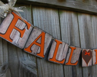 Fall In Love Wedding Banner, Engagement Banner, Fall Bridal Shower, Fall Mantle Decor