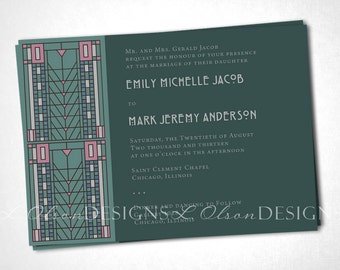 Green Arts and Crafts / Craftsman Wedding Initiation DIY Printable
