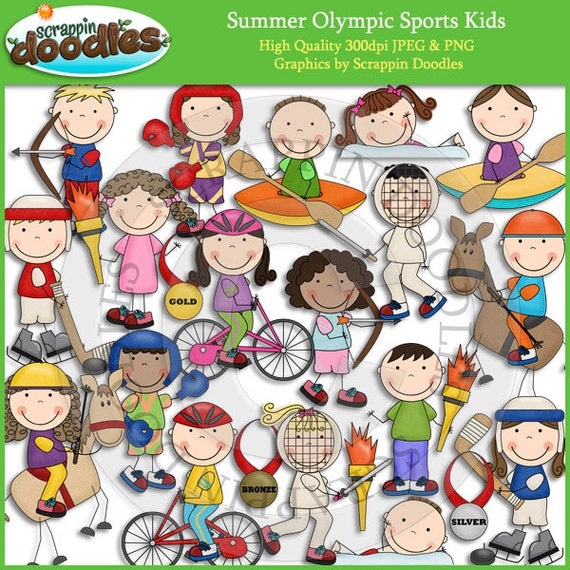 summer olympic sports kids clip art rh etsy com Olympics Clip Art for Teachers Olympic Torch Clip Art