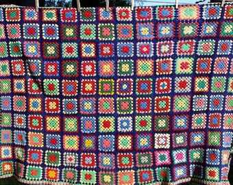 Vintage Crochet Afghan Squares Navy Bright Colors Wool Handmade Antique