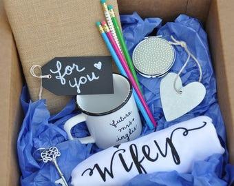Future mrs gift box engagement gift bridal shower gift bride bridesmaid gift bachelorette party wine glass wedding gift future mrs gift