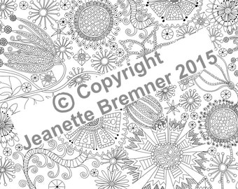Flower Doodle No.1 - Adult Coloring page