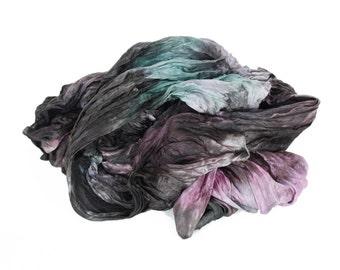 black silk scarf -  Ash Shell - pink, black, grey, green silk scarf.