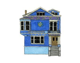Blue House On Scott St., San Francisco - Collectible Print