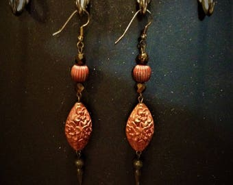 Dramatic Wine-Colored Floral Pendulum Earrings