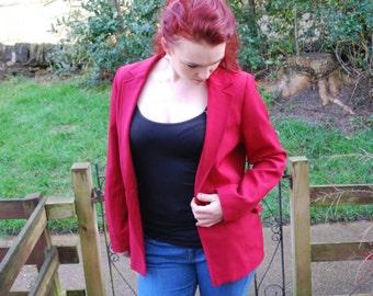 Nineties deep red ladies tailored jacket. UK women's 14.