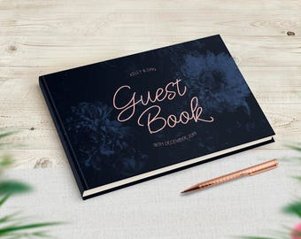 Navy Wedding Guestbook, Navy Blush Theme, Navy Themed Wedding, Winter Wedding Guest Book, Floral Guest book, Wedding Gift, Stationery Gift