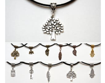 wife gift Black choker inspirational womens gift Suede choker Tree Charm choker Thin choker Dainty choker Delicate Choker Tree Charm pendant