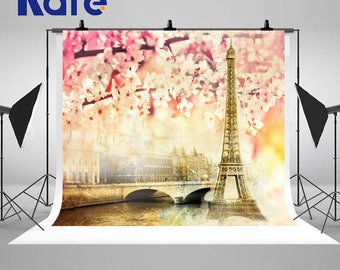 European Classical Paris Tower Building Photography Backdrops Beautiful Cherry Blossoms Photo Backgrounds for Spring Nature Studio Props