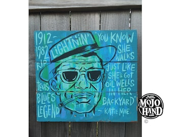 Lightnin Hopkins blues folk art painting by Grego from mojohand.com on wood - ready to hang