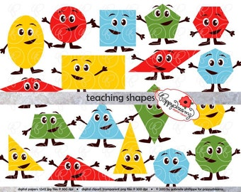 Teaching Shapes Flashcards and Clipart - School Teacher Clip Art Circle Square Triangle Rectangle Oval Pre-K Kindergarten (300 dpi png)
