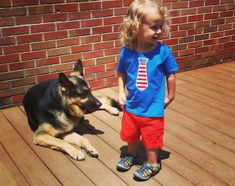 Patriotic Tie T Shirt, Red White Blue, Memorial Day, Fourth of July, Patriotic Clothing, USA Clothing, Shirts, Kids, Tie Shirt, MC Creations