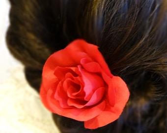 RED Hair Flower, Fascinator, Hair Clip, Wedding Hair Flower, Red Hair Accessory