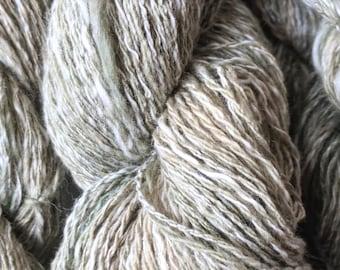 "Handspun Organic Cotton Blended Yarn: ""Snowy Moss"""