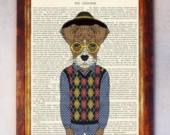 Male Dog Art Print, Dog with Glasses Print, Dog Wall Art, Book Art Dog Print, Animal Print, Dog Artwork, Dog Poster, Digital Download