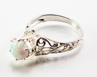 Pronged Round-Shaped White Lab Created Opal Ring