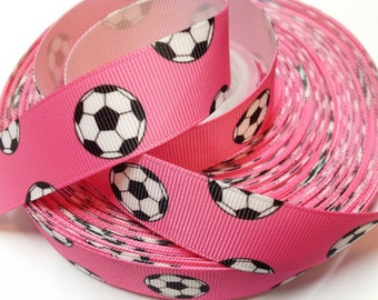 7/8 inch Soccer Balls on PINK - SPORTS Printed Grosgrain Ribbon for Hair Bow