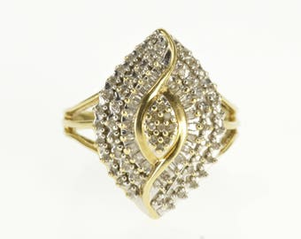 10k Pointed Encrusted Diamond Statement Cluster Ring Gold