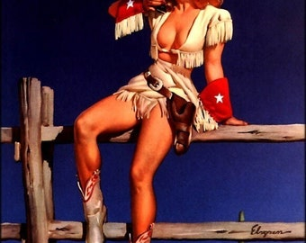 Elvgren - AIMING TO PLEASE - Texas Cowgirl pinup with Colt Peacemarker Pistol Southwestern 1940's 50's nostalgia Roy Rogers pin-up