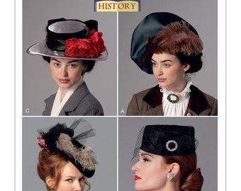 Butterick Pattern 6397-Steampunk Victorian Costume Cosplay-Pillbox-Beret- Hats One size