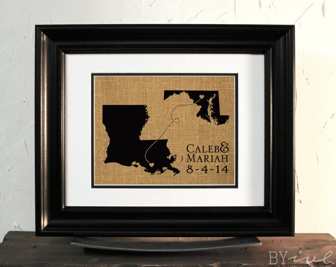 Louisiana and Maryland State Map Burlap Sign Art. Wedding or Anniversary Gift. Custom Couple Name. Unframed.